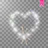 Heart of the lamps ith luminous fireworks on a transparent background. Valentines day card. Heart with inscription I. Love You. Vector illustration EPS 10 Royalty Free Stock Photography