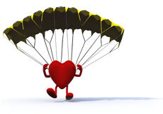 Heart that is landing with parachute Royalty Free Stock Images