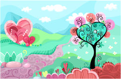 Heart landscape. Illustration with a beautiful landscape with hearts forms Stock Photo