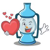 With heart lantern character cartoon style. Vector illustration Royalty Free Stock Photography