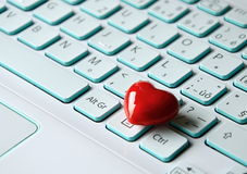 Heart on laptop Royalty Free Stock Images