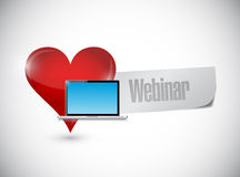 Heart laptop webinar sign illustration design Stock Photography