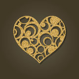 Heart for laser cutting.Round gold pattern. Stock Photo