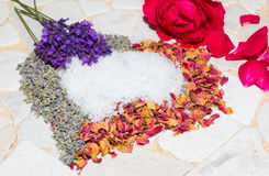 Heart of lavender and roses Royalty Free Stock Photo
