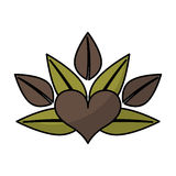 Heart with leafs emblem Stock Photo