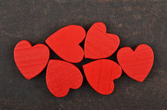 Heart on leather background Stock Photos