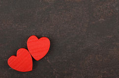 Heart on leather background Stock Images