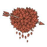 Heart of leaves with arrow. Vector illustration Stock Illustration