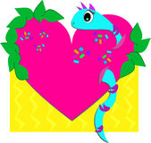 Heart, Leaves, and Blue Snake Stock Photo