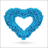 Heart of leaves. Blue vector element with drop shadow  on white Stock Images