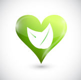Heart and leaves. green illustration design Royalty Free Stock Photo
