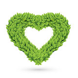 Heart of leaves with shadow. Vector illustration of green heart-shaped garland Stock Images