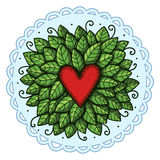Heart with leaves Stock Images