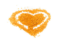 Heart of lentils. White background Stock Image