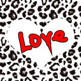 Heart with leopard print texture pattern. Vector background Stock Photo