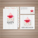Heart letter card. Happy New Year card with Hearts Letter vector illustration