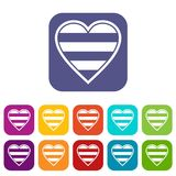 Heart LGBT icons set. Vector illustration in flat style in colors red, blue, green, and other Royalty Free Stock Photo
