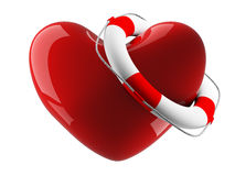 Heart and life buoy on a white background stock illustration