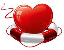 Heart in the lifebuoy. Royalty Free Stock Photo