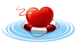 Heart in the lifebuoy. Stock Photography
