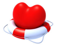Heart in a lifesaver. 3d illustration Royalty Free Stock Photography