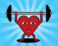 Heart lifting weights Royalty Free Stock Image