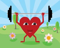 Heart lifting weights Royalty Free Stock Photography