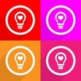 Heart Light Bulb set Vector EPS10, Great for any use. Light Bulb Vector EPS10, Great for any use Royalty Free Stock Photos
