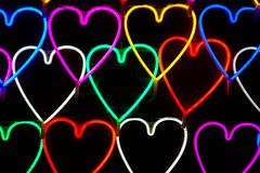 Heart light shape sparkle at night. stock photos