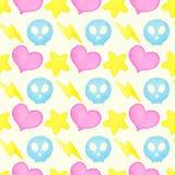Heart, lightning, star, skull watercolor seamless pattern Stock Images