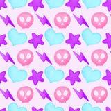 Heart, lightning, star, skull watercolor seamless pattern Royalty Free Stock Photography
