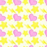 Heart, lightning, star watercolor seamless pattern Stock Photography