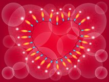 A Heart Lights Frame on Red Background Stock Photo