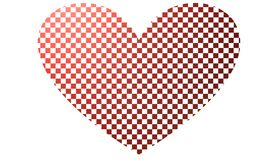 Heart like a chessboard, 3D illustration Stock Photo
