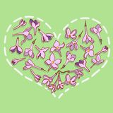 Heart from lilac flowers Stock Images