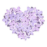 Heart of lilac flowers. Vector illustration. Stock Photo