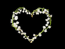 Heart of lillies. Heart shape made of lilly-of-the-valley flowers Stock Photography