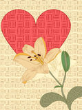 Heart and lily Stock Photography