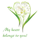 Heart from Lily of the Valley flowers Royalty Free Stock Image