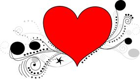 Heart line art. Fantasy heart with dots, lines and stars Royalty Free Stock Images