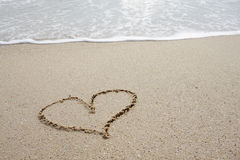 Heart line on on the beach Royalty Free Stock Photo