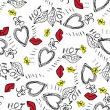 Heart lips flowers hand drawn pattern on white background . Vector illustration. Heart lips flowers red and yellow hand drawn seamless pattern on white Royalty Free Stock Photography