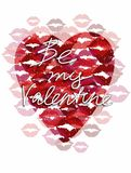 Heart and lips greeting card. sweet love valentine card. raster version Stock Photography
