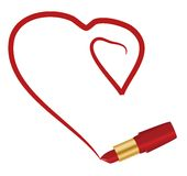 Heart and lipstick Stock Photos