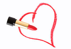 Heart and lipstick Stock Images