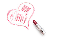 Heart with lipstick. Heart on a white background. Heart is made using lipstick Stock Photo