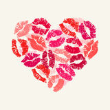 Heart with lipsticks prints. Stock Images
