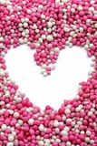 Heart from little colored balls. A dutch delicacy to eat when a new baby is born Royalty Free Stock Photography