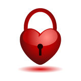 Heart on a lock. Illustration of heart closed on the key Stock Photo