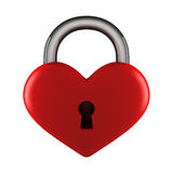 Heart lock. Red glossy heart lock on white Royalty Free Stock Images